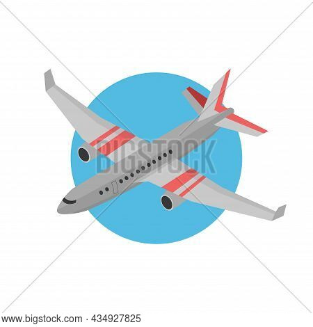 Plane Clipart. Plane Colorful Flat Vector Icon.
