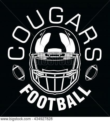 Cougars Football One Color - White Is A Team Design Template That Includes Text, Two Footballs And A