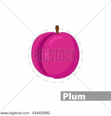 Plum Clipart. Plum Colorful Flat Vector Icon.