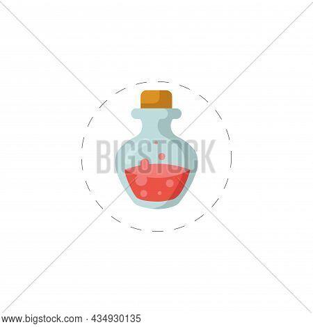 Poison Bottle Clipart. Poison Bottle Colorful Flat Vector Icon.
