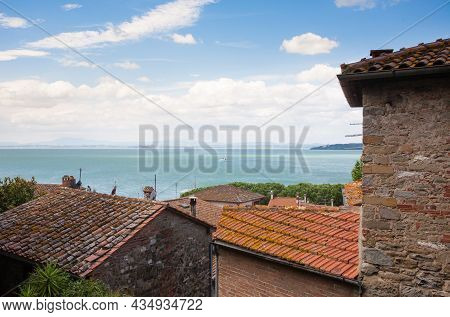 Passignano Sul Trasimeno Town View, Umbria, Italy. Trasimeno Lake Landmark
