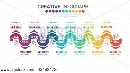 Year Planner, 12 Months, Infographics Design Vector, Can Be Used For Business Concept With 12 Option