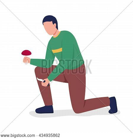 Guy Collects Picks Mushrooms Semi Flat Color Vector Character. Posing Figure. Full Body Person On Wh