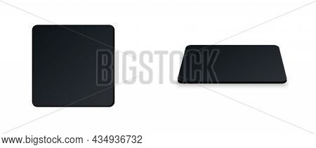 Square Beer Coaster. Empty Black Mockup. Pprotection Coaster For Beer Glasses, Tea Cups Isolated On