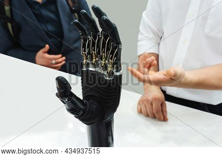 Bionic Prosthetic Arm. Modern Technology For Prosthetic Limbs. Demonstration Of The Capabilities Of