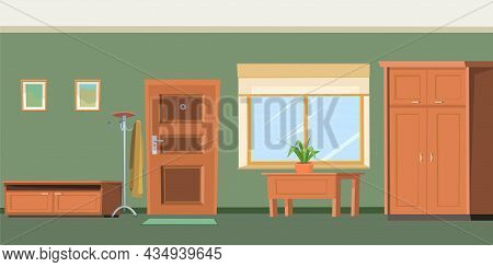 Hallway House. Cozy Room In A Residential Building. Door And Window. Furniture In The Interior. The