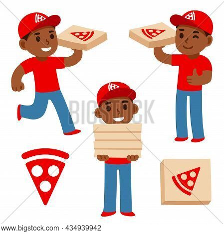 Cute Cartoon Black Pizza Delivery Boy Holding Pizza Boxes With Pizzeria Logo. Simple Flat Vector Cha