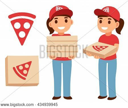 Cute Cartoon Pizza Delivery Girl Holding Pizza Boxes With Pizzeria Logo. Simple Flat Vector Illustra