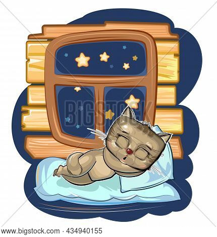 Baby Kitten Sleeps In Bed. Dreaming Near The Window And Wall. Night And Stars. Childrens Illustratio