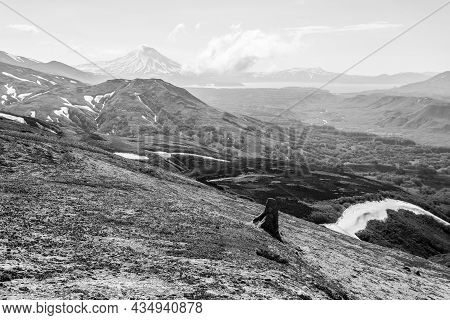 Black And White View Of The Ilyinsky Volcano Early In The Morning, Kamchatka Peninsula, Russia