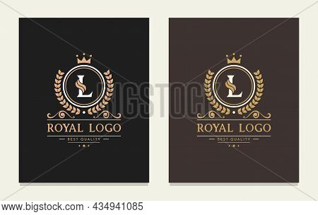Letter L Monogram Design Template With A Crown. Elegant Frame Ornament Line Logo Design. Suitable Fo