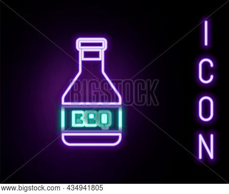 Glowing Neon Line Ketchup Bottle Icon Isolated On Black Background. Barbecue And Bbq Grill Symbol. C