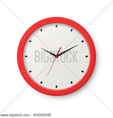 Vector 3d Realistic Red Wall Office Clock Isolated On White. White Dial. Design Template Of Wall Clo