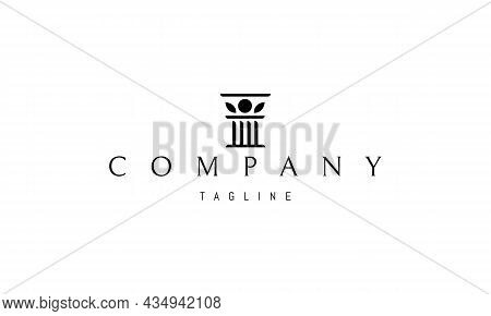 Vector Logo On Which An Abstract Image Of A Column With Decorative Inserts In The Form Of Leaves.