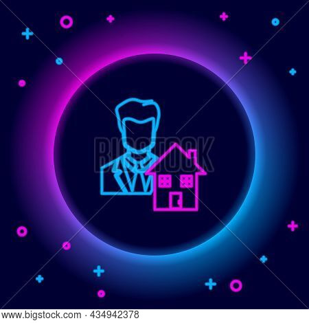 Glowing Neon Line Realtor Icon Isolated On Black Background. Buying House. Colorful Outline Concept.