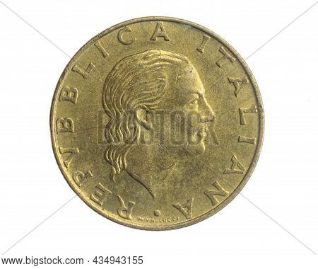 Italy Two Hundred Lira Coin On White Isolated Background