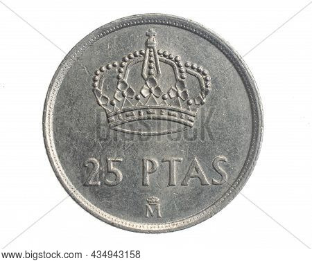 Spain Twenty Five Ptas Coin On White Isolated Background