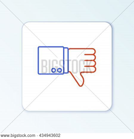 Line Dislike Icon Isolated On White Background. Colorful Outline Concept. Vector