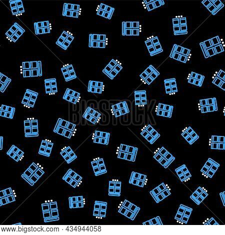 Line Online Shopping On Mobile Phone Icon Isolated Seamless Pattern On Black Background. Internet Sh