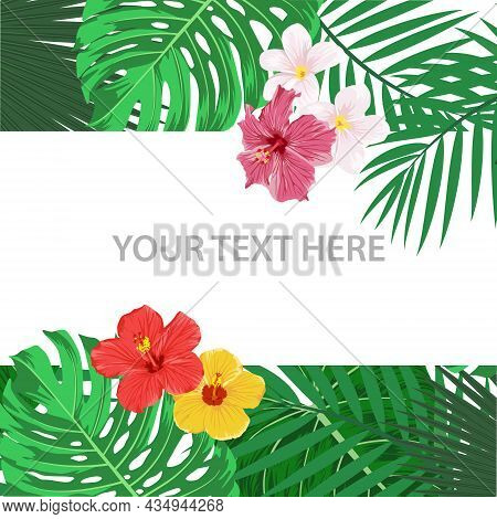 Vector Square Banner, Card With Tropic Leaves And Flowers. Tropical Background. Flat Vector Illustra