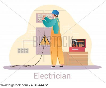 Electrician Fixing Shield. Worker Conducts Electricity In House, Hazardous Work. Wire Repair, Insula