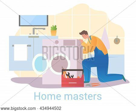 Master Repairs Washing Machine. Appliance Specialist, Home Craftsman. Breakdown Elimination, Problem