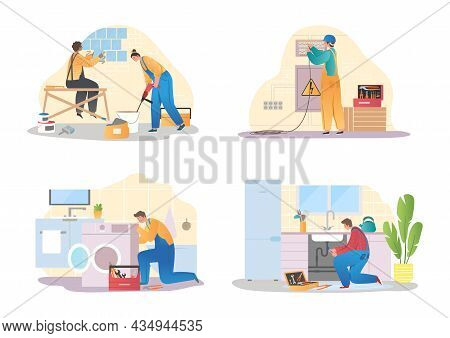 Set Of Various Smiling Home Masters And Repairmans Vector Flat Illustration. Collection Of Different