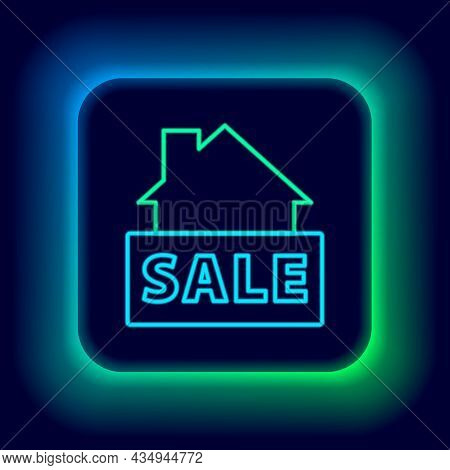 Glowing Neon Line Hanging Sign With Text Sale Icon Isolated On Black Background. Signboard With Text