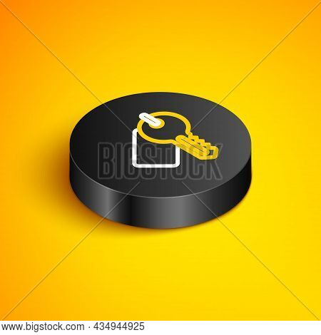 Isometric Line Marked Key Icon Isolated On Yellow Background. Black Circle Button. Vector