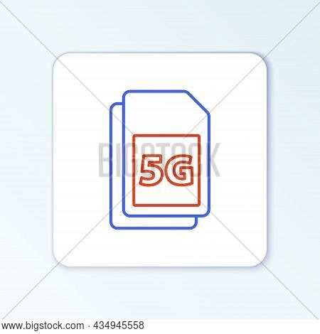 Line 5g Sim Card Icon Isolated On White Background. Mobile And Wireless Communication Technologies.
