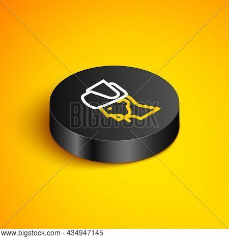 Isometric Line Ukrainian Cossack Icon Isolated On Yellow Background. Black Circle Button. Vector
