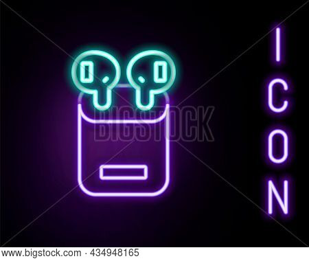 Glowing Neon Line Air Headphones In Box Icon Isolated On Black Background. Holder Wireless In Case E