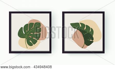 Modern Abstract Aesthetic Background With Geometric Organic Shapes And Leafs Monstera. Wall Decor In