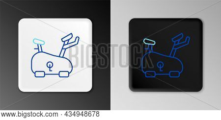 Line Stationary Bicycle Icon Isolated On Grey Background. Exercise Bike. Colorful Outline Concept. V