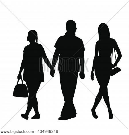 Silhouettes Of Unfaithful Man Holding Hand Of His  Girlfriend And Gazing After Another Girl Who Walk