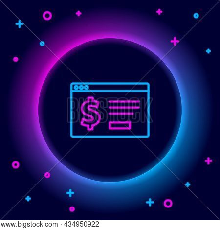 Glowing Neon Line Online Banking With Dollar Icon Isolated On Black Background. Sending Money Around