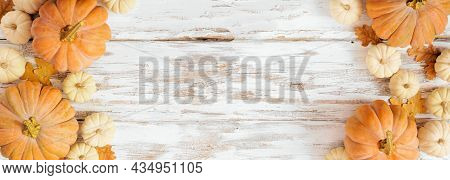 Fall Double Border With Frosty Orange Pumpkins On A Rustic White Wood Banner Background. Top Down Vi