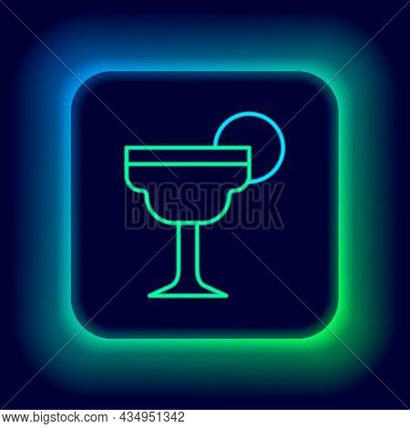 Glowing Neon Line Margarita Cocktail Glass With Lime Icon Isolated On Black Background. Colorful Out
