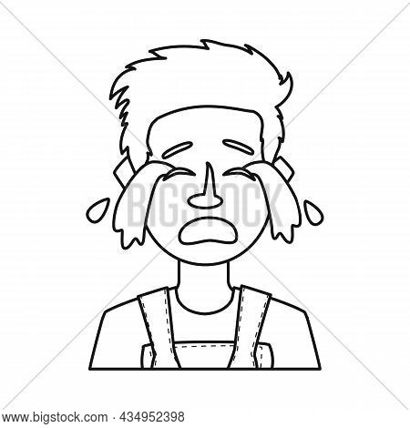 Vector Illustration Of Guy And Cry Sign. Set Of Guy And Tears Vector Icon For Stock.