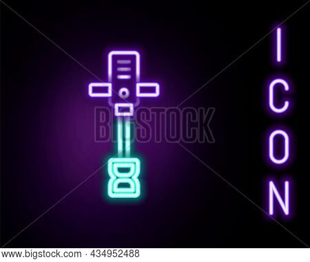 Glowing Neon Line Electrical Hand Concrete Mixer Icon Isolated On Black Background. Handheld Electri