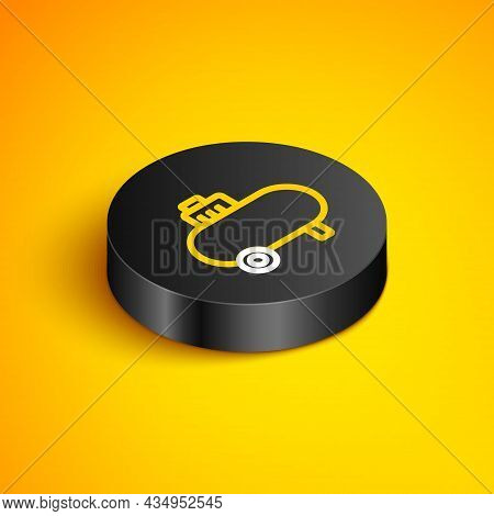 Isometric Line Air Compressor Icon Isolated On Yellow Background. Black Circle Button. Vector