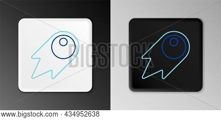 Line Comet Falling Down Fast Icon Isolated On Grey Background. Colorful Outline Concept. Vector