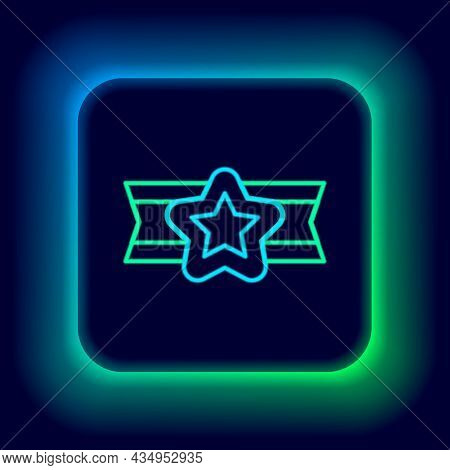 Glowing Neon Line Star American Military Icon Isolated On Black Background. Military Badges. Army Pa