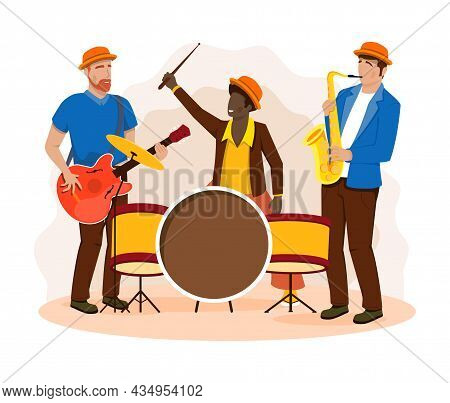 Group Of Musicians Concept. Men Play Drum, Guitar And Saxophone. Team Of Characters Creates Modern M