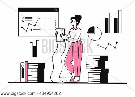 Sad Woman Hold Giant Task List. Female Character Studies Documents, Tax Bill Or Shopping List. Time