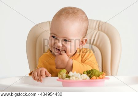 Funny Baby On A Feeding Chair Holds His Fingers In His Mouth. A Plate Of Boiled Vegetables In Front