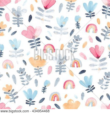 Watercolor floral pattern with pink, yellow, blue and gray flowers. Perfect for fabric, textile, apparel. Cute seamless pattern. Great for fabric, textile.