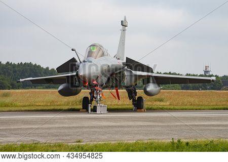 Volkel, Netherlands - June 14, 2013: Military Fighter Jet Plane At Air Base. Air Force Flight Operat