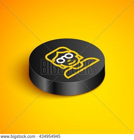 Isometric Line Hacker Or Coder Icon Isolated On Yellow Background. Programmer Developer Working On C