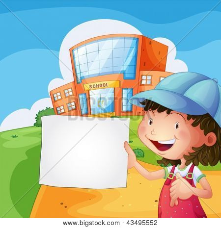 Illustration of a girl holding a blank paper